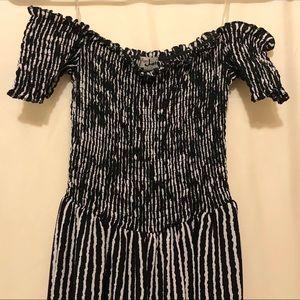 J for Justify - striped off the shoulder jumpsuit